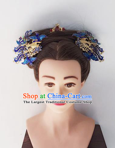 Chinese Handmade Hanfu Qing Dynasty Blueing Phoenix Hairpins Traditional Ancient Imperial Consort Hair Accessories for Women