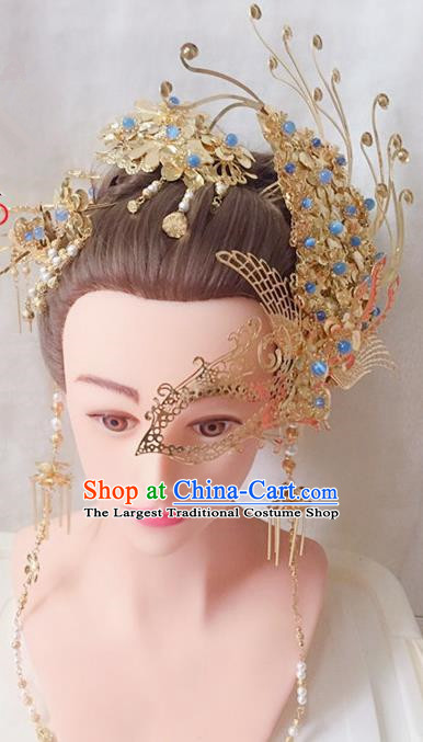 Chinese Handmade Hanfu Tang Dynasty Mask Phoenix Hairpins Traditional Ancient Imperial Consort Hair Accessories for Women