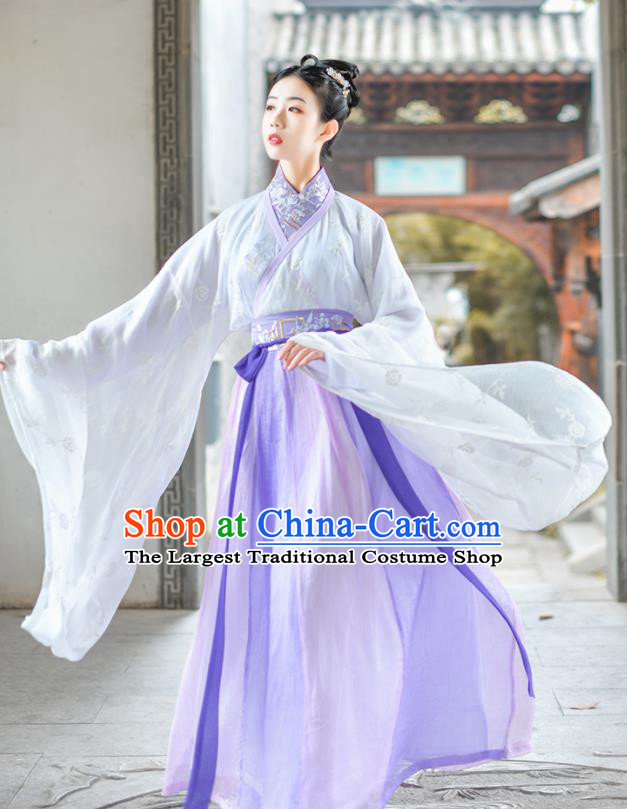 Chinese Ancient Court Lady Embroidered Purple Hanfu Dress Traditional Jin Dynasty Princess Historical Costume for Women