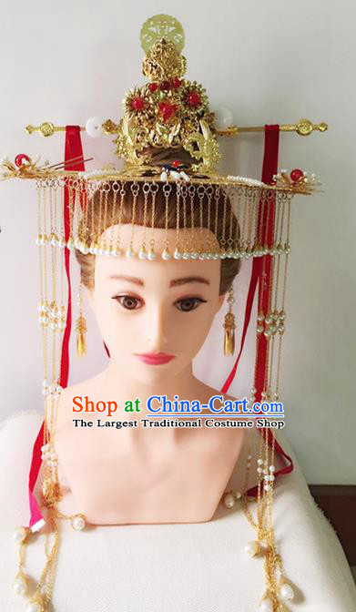 Handmade Chinese Palace Queen Phoenix Coronet Tassel Hairpins Ancient Traditional Hanfu Hair Accessories for Women