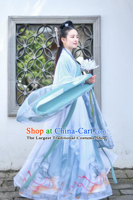 Chinese Jin Dynasty Palace Princess Embroidered Hanfu Dress Traditional Ancient Court Lady Historical Costume for Women