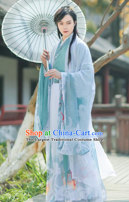 Chinese Jin Dynasty Nobility Childe Embroidered Hanfu Clothing Traditional Ancient Prince Swordsman Historical Costume for Men