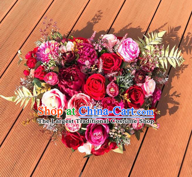 Handmade Classical Wedding Bride Rose Flowers Holding Emulational Flowers Ball Hand Tied Bouquet Flowers for Women