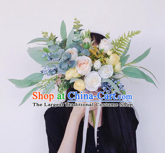 Handmade Classical Wedding Bride Holding Emulational Flowers Rose Flowers Ball Hand Tied Bouquet Flowers for Women