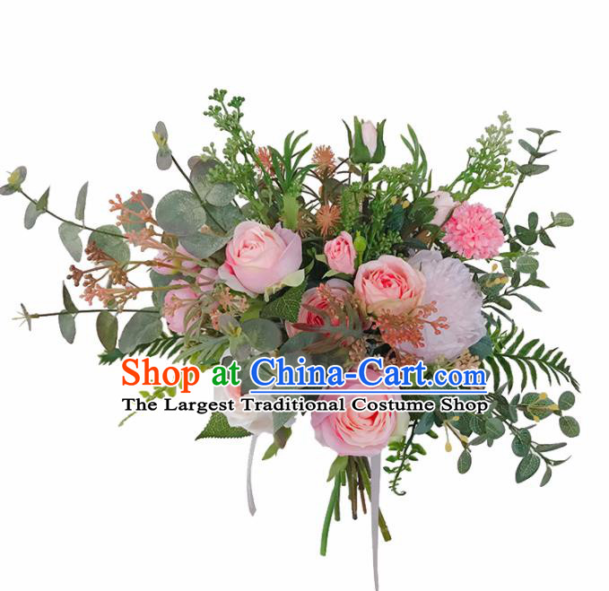 Handmade Classical Wedding Bride Holding Emulational Pink Rose Flowers Ball Hand Tied Bouquet Flowers for Women
