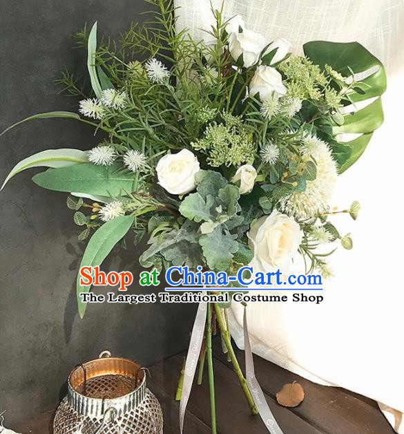 Handmade Classical Wedding Bride Holding Emulational White Rose Flowers Ball Hand Tied Bouquet Flowers for Women