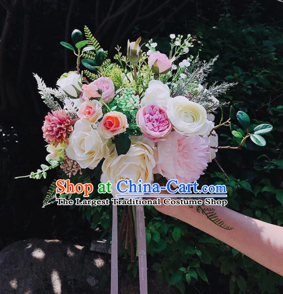 Handmade Classical Wedding Bride Holding Emulational Rose Flowers Ball Hand Tied Bouquet Flowers for Women