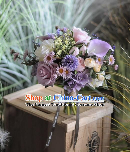 Handmade Wedding Bride Holding Emulational Classical Purple Rose Flowers Ball Hand Tied Bouquet Flowers for Women