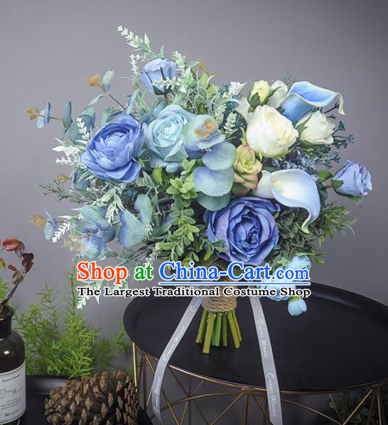 Handmade Wedding Bride Holding Emulational Classical Blue Rose Flowers Ball Hand Tied Bouquet Flowers for Women
