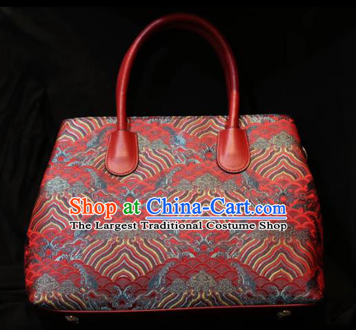 Handmade Chinese Classical Wedding Handbag Bride Red Brocade Bags for Women