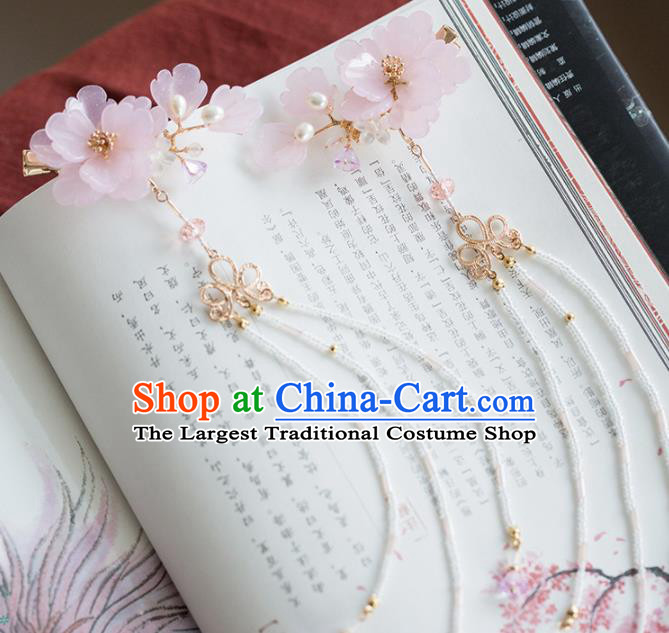 Chinese Handmade Pink Flowers Hair Claws Ancient Princess Hair Accessories Headwear for Women