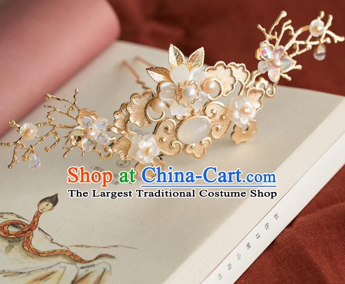 Chinese Handmade Golden Hair Crown Hairpins Ancient Princess Hair Accessories Headwear for Women