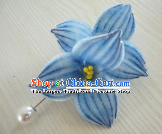 Chinese Handmade Blue Velvet Lotus Hairpins Ancient Palace Queen Hair Accessories Headwear for Women