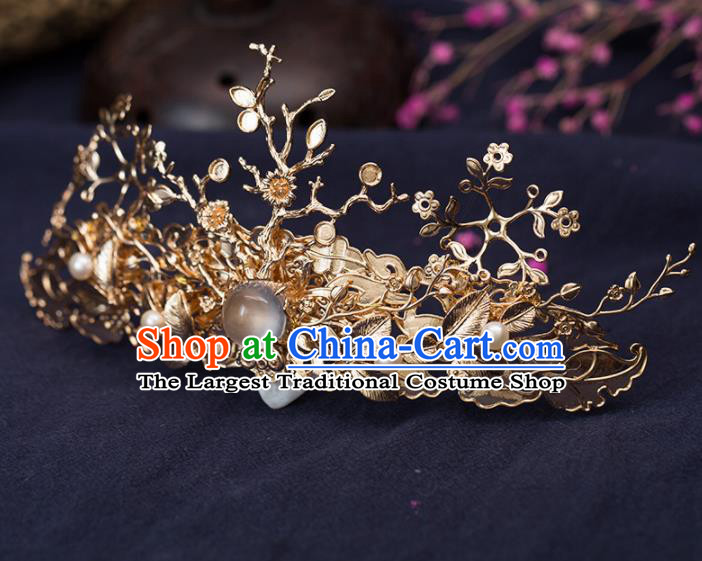 Chinese Handmade Hanfu Golden Hair Crown Hairpins Ancient Princess Hair Accessories Headwear for Women