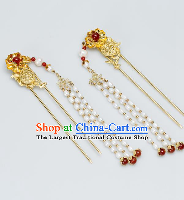 Chinese Handmade Hanfu Hair Clips Pearls Tassel Hairpins Ancient Princess Hair Accessories Headwear for Women