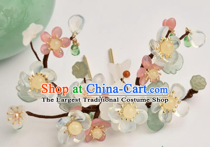 Chinese Handmade Hanfu Flowers Hair Clip Hairpins Ancient Princess Hair Accessories Headwear for Women