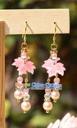 Handmade Chinese Classical Pink Maple Leaf Earrings Ancient Palace Hanfu Ear Accessories for Women