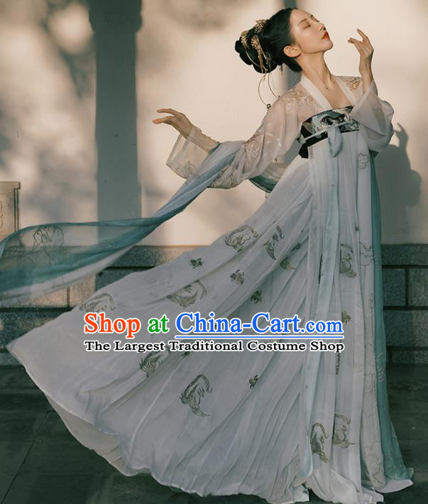 Chinese Traditional Tang Dynasty Imperial Concubine Historical Costume Ancient Peri Embroidered Hanfu Dress for Women