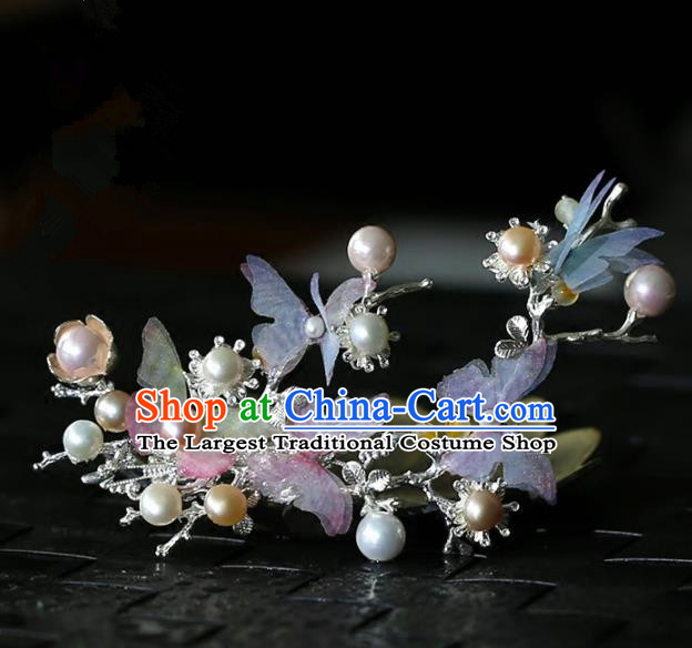 Chinese Handmade Hanfu Silk Butterfly Hair Claw Hairpins Ancient Palace Princess Hair Accessories Headwear for Women