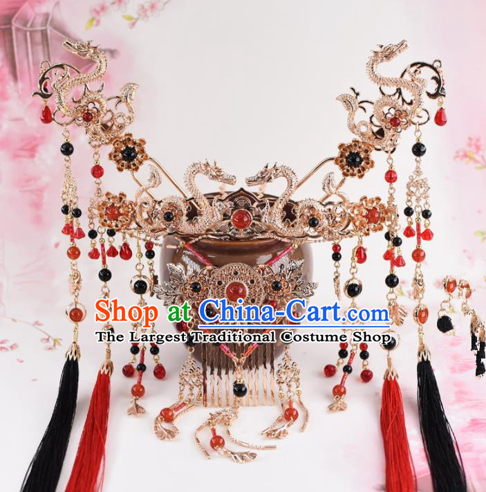 Chinese Handmade Palace Dragons Tassel Hair Crown Hairpins Ancient Princess Hanfu Hair Accessories Headwear for Women
