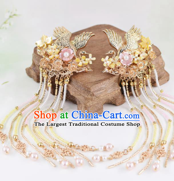 Chinese Handmade Palace Golden Cranes Hair Claw Hairpins Ancient Princess Hanfu Hair Accessories Headwear for Women