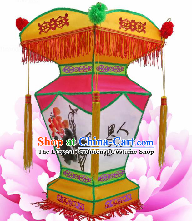 Handmade Chinese Ink Painting Palace Lanterns Traditional New Year Lantern Ancient Ceiling Lamp
