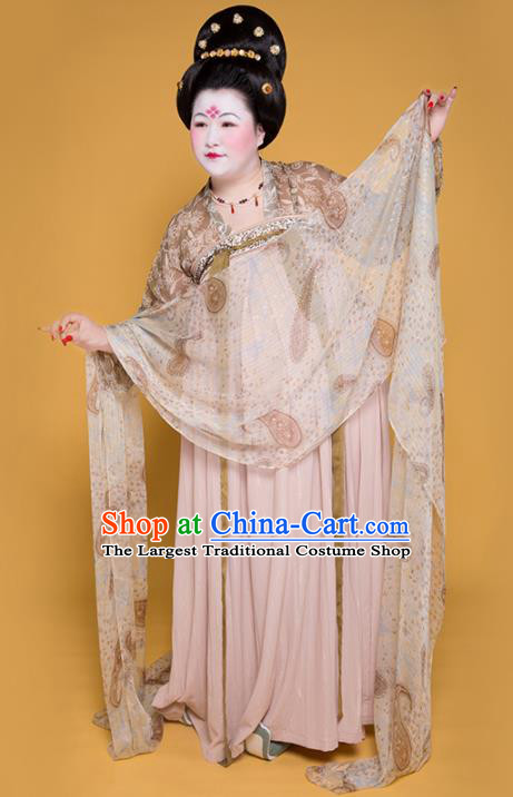 Traditional Chinese Tang Dynasty Imperial Consort Costume Ancient Court Lady Large Size Hanfu Dress for Women