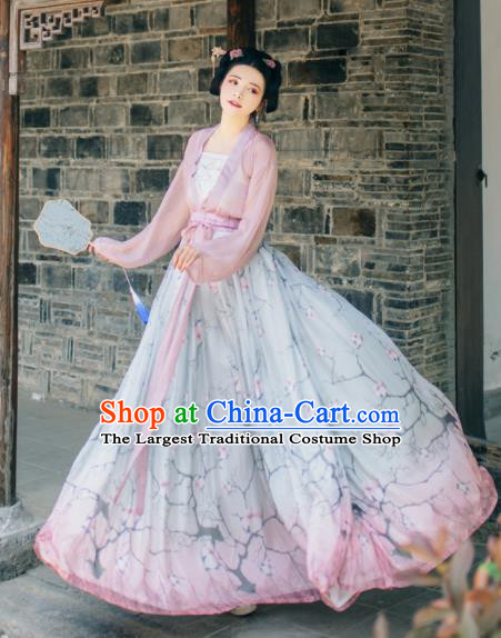 Chinese Ancient Peri Goddess Hanfu Dress Traditional Tang Dynasty Nobility Lady Costume for Women