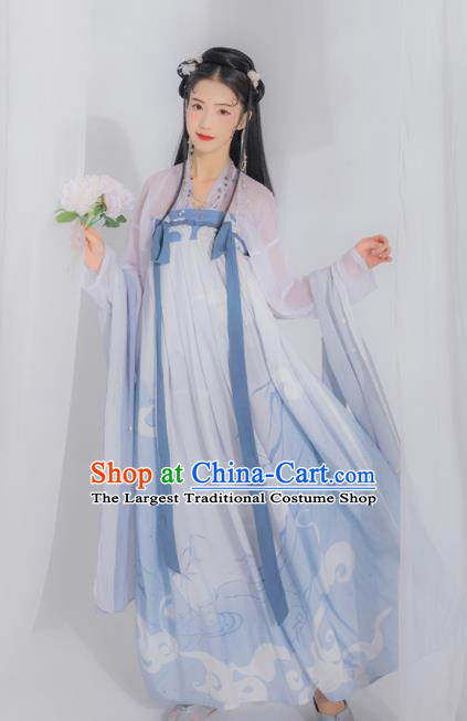 Chinese Ancient Tang Dynasty Court Lady Embroidered Hanfu Dress Traditional Historical Costume for Women