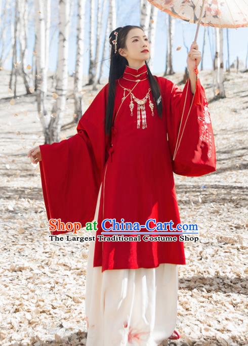 Chinese Traditional Ancient Princess Embroidered Red Hanfu Dress Ming Dynasty Court Lady Historical Costume for Women