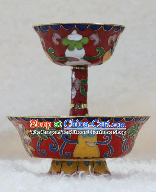 Chinese Traditional Buddhism Red Cloisonne Cup Feng Shui Items Vajrayana Buddhist Decoration