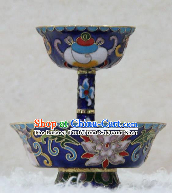 Chinese Traditional Buddhism Blue Cloisonne Cup Feng Shui Items Vajrayana Buddhist Decoration