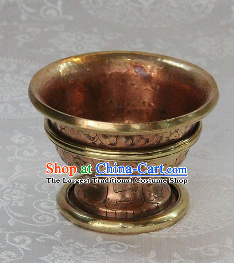 Chinese Traditional Buddhism Copper Consecrate Bowl Feng Shui Items Vajrayana Buddhist Cup Decoration