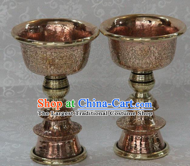 Chinese Traditional Buddhism Copper Carving Cup Butter Lamp Feng Shui Items Vajrayana Buddhist Candelabrum Decoration