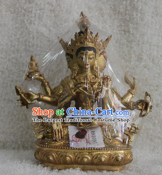 Chinese Traditional Buddhist Copper Women Buddha Statue Tibetan Buddhism Feng Shui Items Sculpture