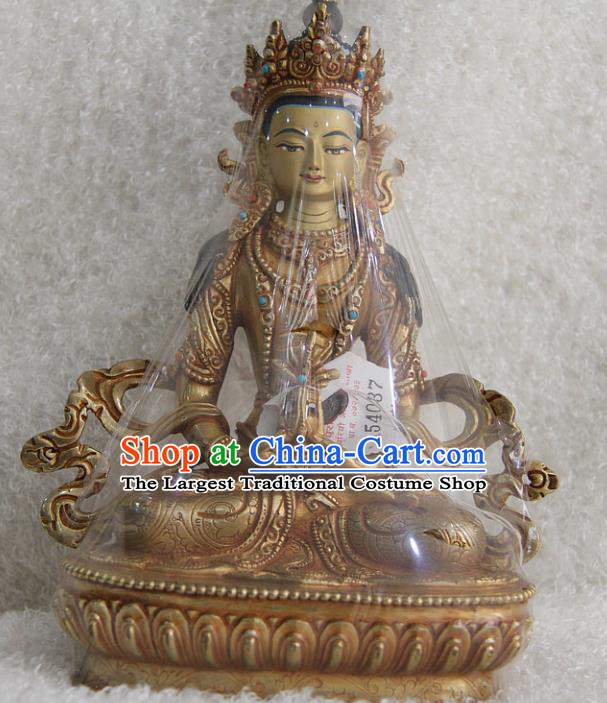 Chinese Traditional Buddhist Copper Buddha Longevity Statue Tibetan Buddhism Feng Shui Items Sculpture