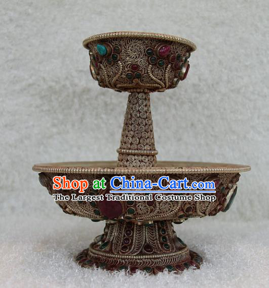 Chinese Traditional Buddhist Copper Bowl Buddha Cup Decoration Tibetan Buddhism Feng Shui Items