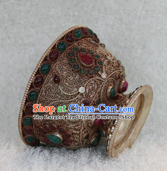 Chinese Traditional Buddhist Offersacrifice Copper Bowl Buddha Agate Cup Decoration Tibetan Buddhism Feng Shui Items
