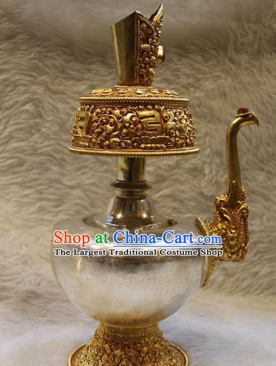 Chinese Traditional Buddhist Offersacrifice Copper Flagon Buddha Wine Pot Decoration Tibetan Buddhism Feng Shui Items