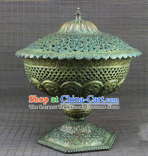 Chinese Traditional Buddhist Censer Buddha Brass Incense Burner Decoration Tibetan Buddhism Feng Shui Items