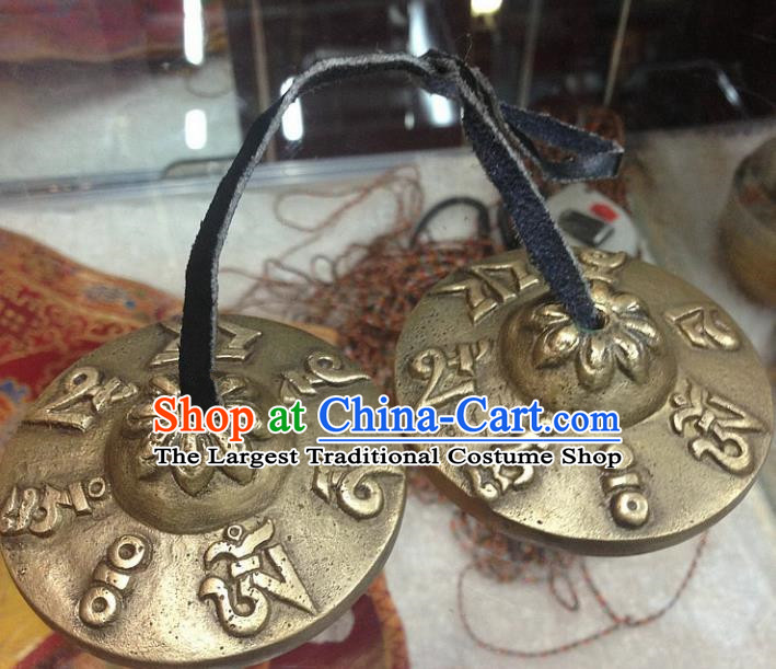 Chinese Traditional Feng Shui Items Buddhism Cymbal Buddhist Carving Copper Musical Instrument