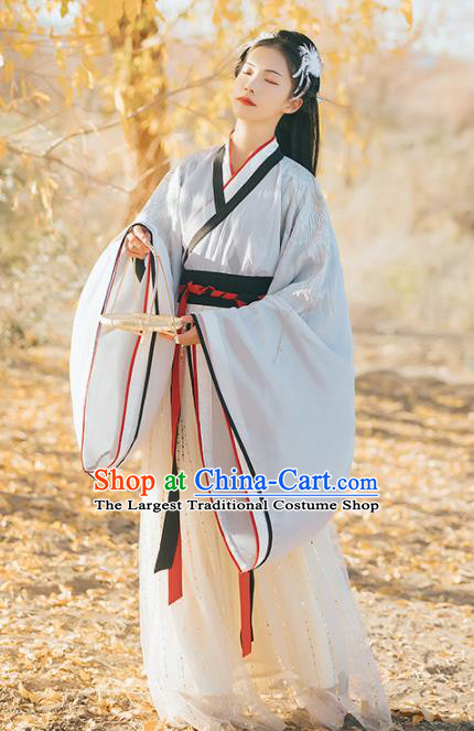 Chinese Traditional Ancient Princess Hanfu Dress Jin Dynasty Imperial Consort Embroidered Historical Costume for Women