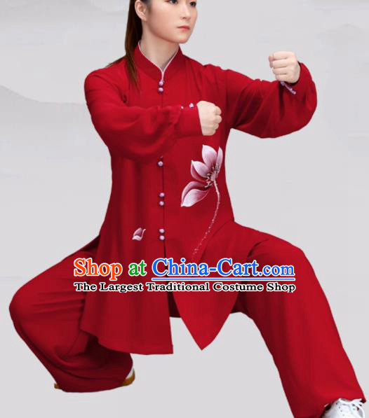 Chinese Traditional Martial Arts Red Costume Tai Ji Kung Fu Printing Lotus Clothing for Women