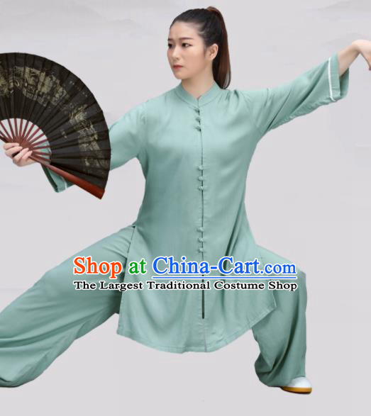 Chinese Traditional Martial Arts Green Costume Tai Ji Kung Fu Clothing for Women