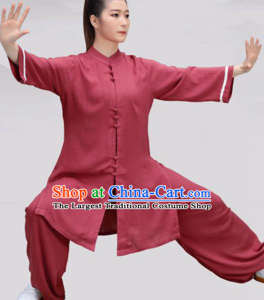 Chinese Traditional Martial Arts Red Costume Tai Ji Kung Fu Clothing for Women