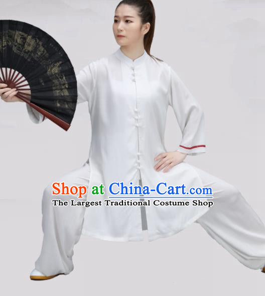 Chinese Traditional Martial Arts White Costume Tai Ji Kung Fu Clothing for Women