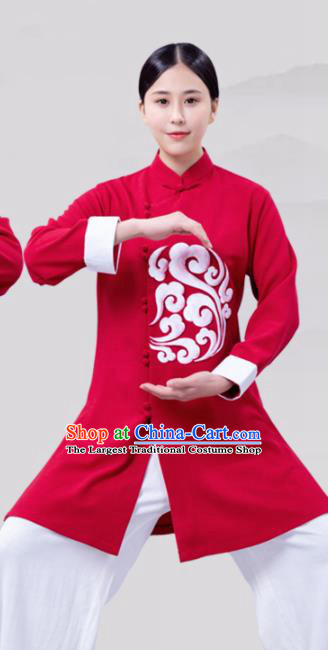 Chinese Traditional Martial Arts Competition Wine Red Costume Tai Ji Kung Fu Training Clothing for Women