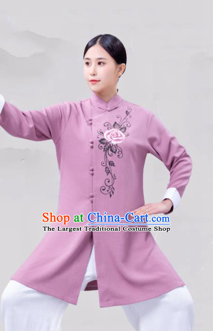 Chinese Traditional Martial Arts Competition Purple Costume Tai Ji Kung Fu Training Clothing for Women