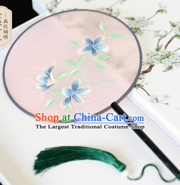 Chinese Traditional Embroidered Blue Flowers Silk Round Fans Classical Hanfu Palace Fans for Women