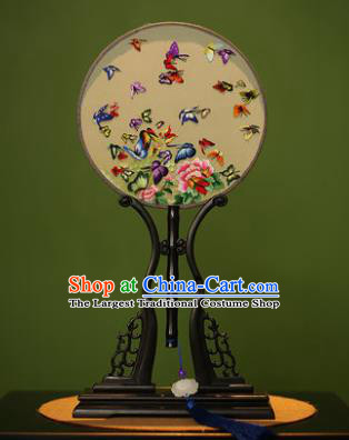 Handmade Chinese Traditional Double Side Silk Round Fan Classical Embroidered Butterfly Peony Palace Fans for Women